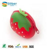 Borsa poco costosa della moneta del silicone della fragola di figura della frutta, sacchetto sveglio della moneta del silicone
