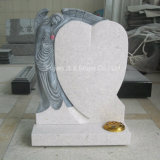 Pietra tombale bianca della scultura di angelo dell'oggetto d'antiquariato del granito della perla