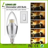 La vela enciende el bulbo del aluminio SMD LED de E14 6W 110-130V