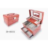 ElegentのヨーロッパデザインPUのハンドル3xlayersが付いている革ギフトのパッキング記憶の宝石類箱かボックス