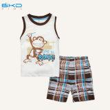 短い袖の赤ん坊の衣服青いカラー幼児摩耗セット