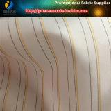 의복 (S120.124)를 위한 털실에 의하여 염색되는 폴리에스테 줄무늬에 있는 싼 백색 소매 안대기 직물
