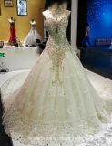 Vestido de esfera nupcial We18 do casamento do laço da catedral do vestido de casamento dos cristais