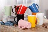 14oz Taza de cerámica única redonda rosada, tazas de café pintadas a mano, taza de cerámica