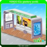 Abri extérieur personnalisé d'arrêt de bus de cadre léger de bandes de la structure métallique DEL