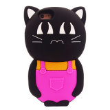 caixa bonito do silicone do gato dos desenhos animados 3D para o iPhone 6g 6plus da tampa do telefone móvel do iPhone 5g (XSDW-082)