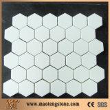 De vierkante Hexagon Tegel van het Mozaïek van het Glas van de Vorm Witte Oppervlakte Gekristalliseerde
