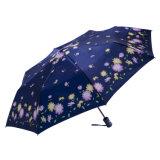 زهرة طبعة زرقاء لون سيّارة استعمل مفتوحة يطوي مظلة لأنّ نساء