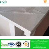 Parte superior artificial de superfície contínua branca do banco de quartzo