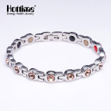 Multicolor Crystal Magnetic Stainless Steel Bracelet for Lady (10082)