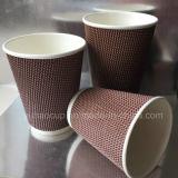 Taza del papel de empapelar de la ondulación para la taza de papel 8oz del café caliente