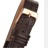 Montre de dames d'acier inoxydable de mode avec la qualité 71280 de bande et de Suisse de cuir véritable
