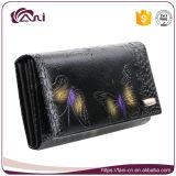 Monederos piel de vaca, Negro Moda Butterlfy Impreso de cuero genuino billetera la Mujer