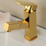 Flg Pull Out Function Banho Basin Faucet Gold Painting