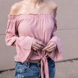 Las mujeres de la manera atractivas adelgazan de la blusa de la ropa del vendaje de la funda de la flama del hombro