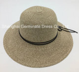 Sombrero ancho flojo de Sun de la paja del borde de la playa del verano de las mujeres (Sh054)
