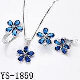 De Juwelen van de fantasie 925 Zilveren Reeksen van CZ van de Bloem van de Saffier Blauwe