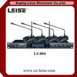 Microphone de radio de fréquence ultra-haute de professionnel des glissières Ls-804 quatre