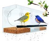 Alimentador de acrílico claro del pájaro de la ventana para los amantes animales