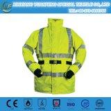 Chaqueta reflexiva amarilla fluorescente al por mayor de la seguridad con el bolsillo para la construcción de carreteras, funcionamiento, Walkingcycling