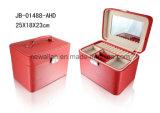 Cadre de bijou en cuir rouge d'unité centrale de mémoire respectueuse de l'environnement d'étalage