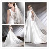Опрятный флористический Bateau a мотивов шнурка - линия платье венчания сатинировки (Dream-100066)