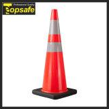 Cone de segurança de tráfego rodoviário de PVC macio injetado de 90 cm / 36 polegadas com base preta