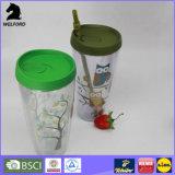 Buntes Drucken-doppel-wandige Plastikflasche mit Stroh