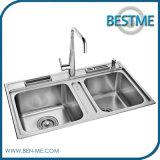 Dissipador de cozinha escovado dos mercadorias material de aço sanitário (BS-7014F)