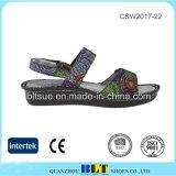 Ботинки женщин Clog Outsole цветастой верхней волшебной кнопки резиновый