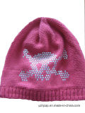 겨울 모자 아크릴 자카드 직물 베레모 모자 주문 니트 모자 POM POM에 의하여 뜨개질을 하는 모자