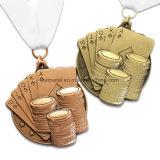 Medalla corriente del brillo de polvo del maratón en forma de corazón de encargo del metal 10k