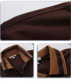 Gewelltes Garn-Farben-Streifen-Muffen-Form-Männerbrown-Polo-Hemd auf Verkauf