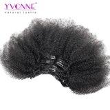 Afro-lockiger Klipp natürlichen der Farbe 120g/Set in des Menschenhaar-Extensions-brasilianisches Jungfrau-Haar-7 der Stück-/Set