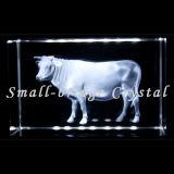 Bloque de la vaca del laser del cristal 3D