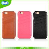 Cas de téléphone portable en cuir véritable de la plus haute qualité avec support de carte pour iPhone 6