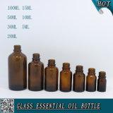 botella de cristal ambarina del cuentagotas de 5ml 10ml 15ml 20ml 30ml 50ml 100ml para el petróleo esencial