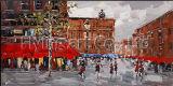 100% peint à la main Rue Paysage Peinture à l'huile