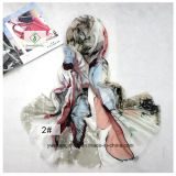 De Bloem die van de Vlinder van het satijn Dikke Manier afdrukt Dame Scarf Shawl Factory