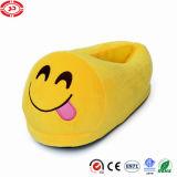 귀여운 웃음 견면 벨벳 황색 슬리퍼 Emoji 형식 단화