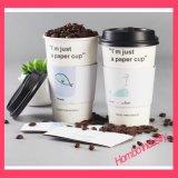 Logotipo feito sob encomenda copo de papel impresso do café quente com a luva do copo da isolação