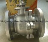2PC a bridé robinet à tournant sphérique avec l'acier inoxydable