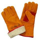 Кожаный перчатки заварки с подкладкой горжетки полной