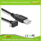 Up Angle Micro USB B 5pin macho para USB um cabo Male 2.0