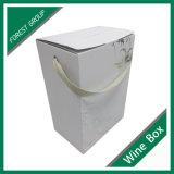 Белая изготовленный на заказ коробка вина бутылки бумаги 6 с оптовой продажей коробки подарка вина серебряной фольги