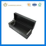 Boîte en carton de finition lustrée de luxe noire pour le cadeau