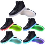 LED Light Up Trainers Black White High Top Casual Shoes para adultos