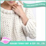 Chandail fabriqué à la main de laine de mode de coton de vente chaude long