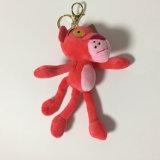 Brinquedo animal enchido Keychain do tigre macio do tipo da pantera luxuoso cor-de-rosa