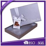 Rectángulo de regalo de empaquetado de papel del chocolate del rectángulo del oro de lujo con la cinta